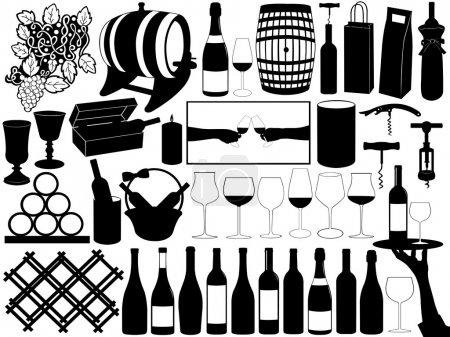 Illustration pour Collection d'objets vinicoles isolés sur blanc - image libre de droit