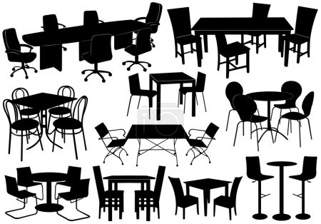 Illustration for Illustration of tables and chairs isolated on white - Royalty Free Image