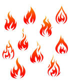 Set of fire flames isolated on white background as warning symbols