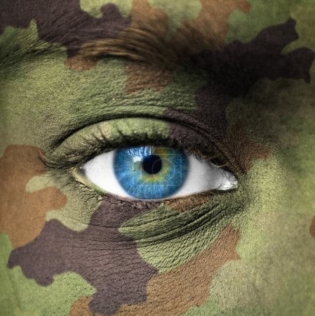 Military colors on human face