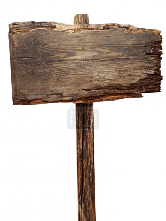 Photo for Old weathered wood sign isolated - Royalty Free Image