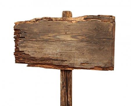 Photo pour Gros plan d'un panneau en bois vide isolé sur fond blanc - image libre de droit
