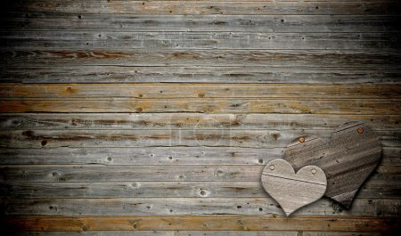 Photo for Two heart on wood background with copy space - Royalty Free Image