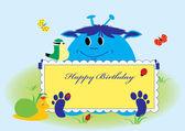 Happy birthday card cute animals