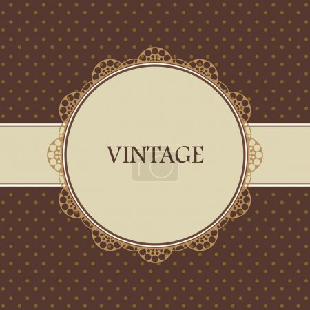 Illustration for Brown vintage card, polka dot design - Royalty Free Image