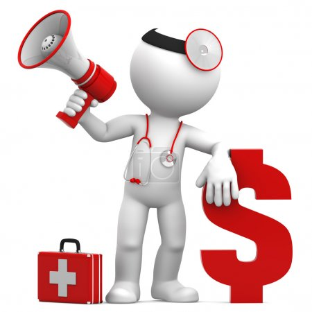 Doctor with megaphone and Dollar currency sign