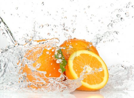 Photo for Orange fruits and Splashing water - Royalty Free Image