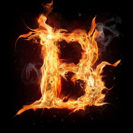 """Letra del alfabeto de fuego """"B """""""