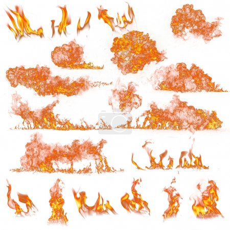 Foto de Colección de llamas de fuego en blanco - Imagen libre de derechos