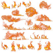 Fire flames collection on white
