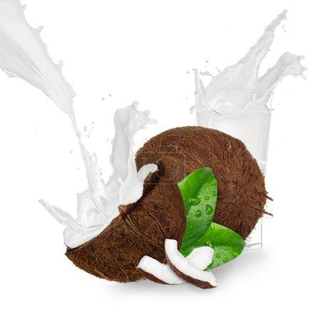 Cracked coconut with milk splash