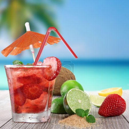Fruit cocktail on a beach