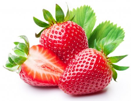 Photo for Strawberries with leaves. Isolated on a white background. - Royalty Free Image