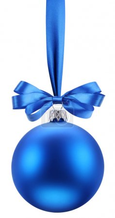 Photo for Christmas blue ball on the festive ribbon. This file contains the path to cut. - Royalty Free Image