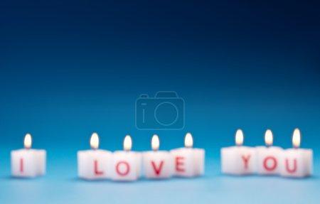 """Photo pour """"Je t'aime """"imprimé sur des bougies . - image libre de droit"""