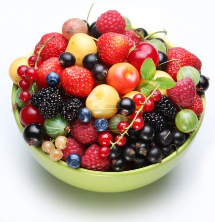 Different berries in the bowl.