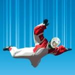 Skydiver falls through the air...