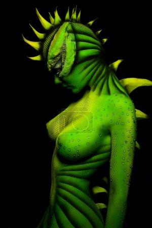 Woman-dragon bodyart