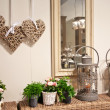 Domestic decoration with plants and candle lamps...
