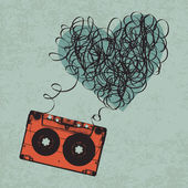 Vintage audiocassette illustration with heart shaped messy tape