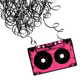 Audiocassette tape with tangled Vector illustration