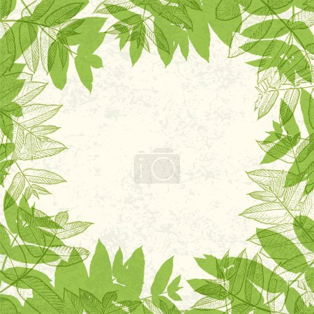 Illustration for Green leaves frame on paper texture. Vector illustration, EPS10. - Royalty Free Image