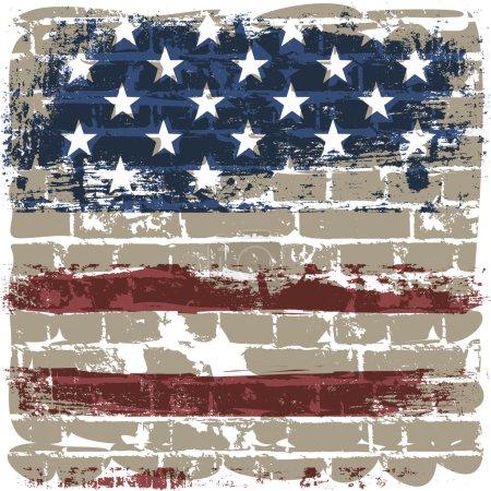 The American flag against a brick wall.