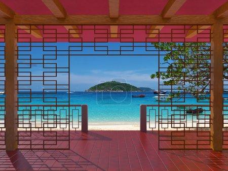Photo pour Véranda avec la vue magnifique sur la mer à l'extérieur - image libre de droit