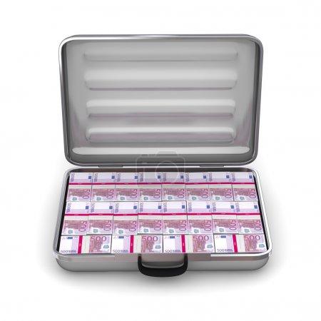 Open Silver Grey Briefcase with Euro Notes