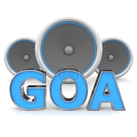 Photo pour Goa mot bleu avec contour métallique et trois haut-parleurs en arrière-plan - image libre de droit