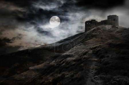 Photo for Night, moon and dark fortress black and white halloween theme - Royalty Free Image
