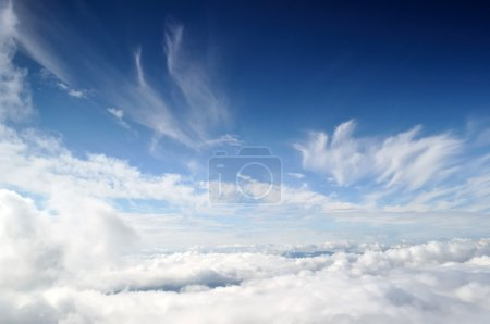 Photo for Natural sky and clouds background. Cloudy cover over mountains - Royalty Free Image