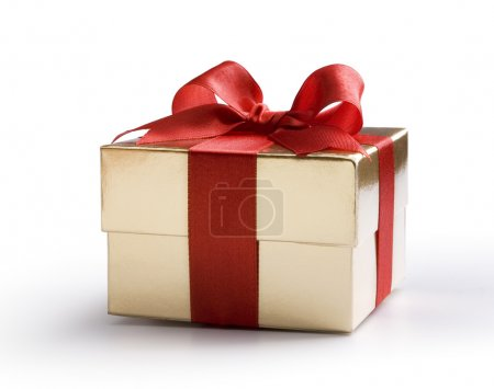 Photo for Gold gift box with red bow isolated on white background - Royalty Free Image