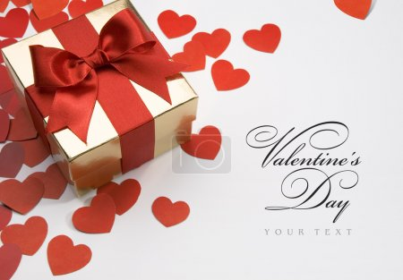 Photo for Art valentine's greeting card with gift box on white background - Royalty Free Image