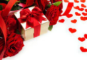 Art valentines card with red roses and gift box on white backgro