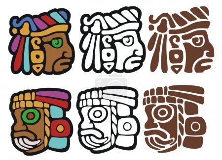 Photo pour Deux visages différents en trois variantes, illustrations par points - image libre de droit