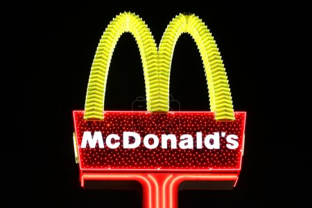 Las Vegas, USA - October 29, 2011: McDonald's is a fast food chain that operates restaurants around the world. Seen here is a particularly glitzy McDonald's Sign to fit in with the bright lights of Las Vegas, Nevada.