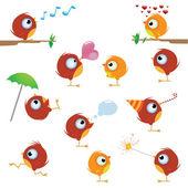 Funny cartoon canaries bird set
