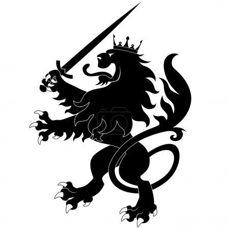 Black heraldic lion with sword