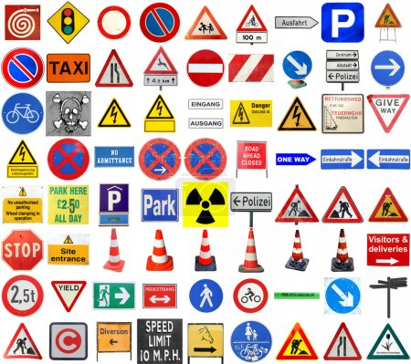 Photo for Set of European traffic signs isolated over white, with text in English and German - Royalty Free Image