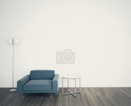 Minimal interior with single armchair