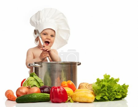 Little boy in chef's hat