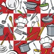 Seamless pattern of common utensils used for cooki...