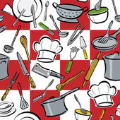 Seamless pattern of common utensils used for cooking and eating