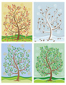 Vector illustrations of a tree throughout the four seasons