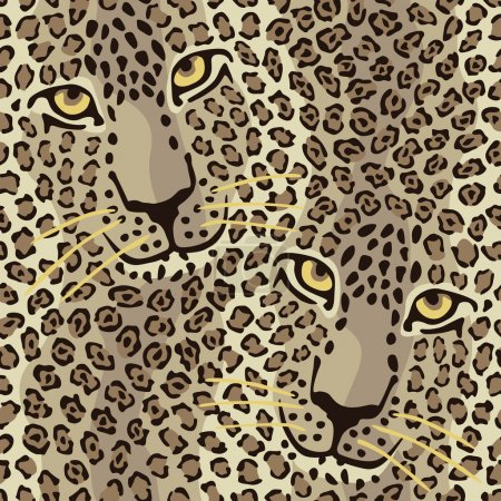 Illustration for Vector illustration of spotted cats repeats seamlessly. - Royalty Free Image