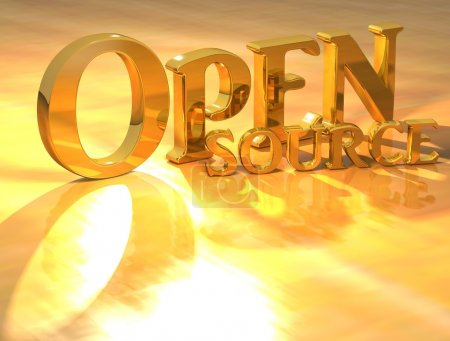 Photo pour Texte d'or open source 3D sur fond jaune - image libre de droit
