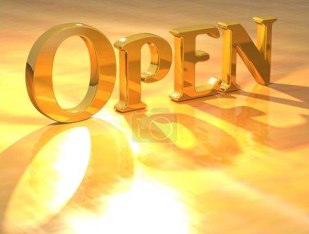 Photo pour 3D open text or sur fond jaune - image libre de droit