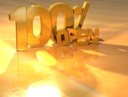 Photo pour 3D 100 % open text or sur fond jaune - image libre de droit