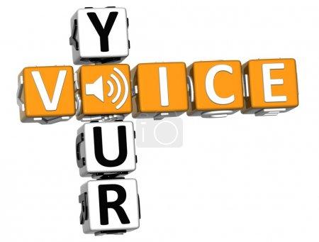Photo pour 3D vos mots croisés : voix sur fond blanc - image libre de droit